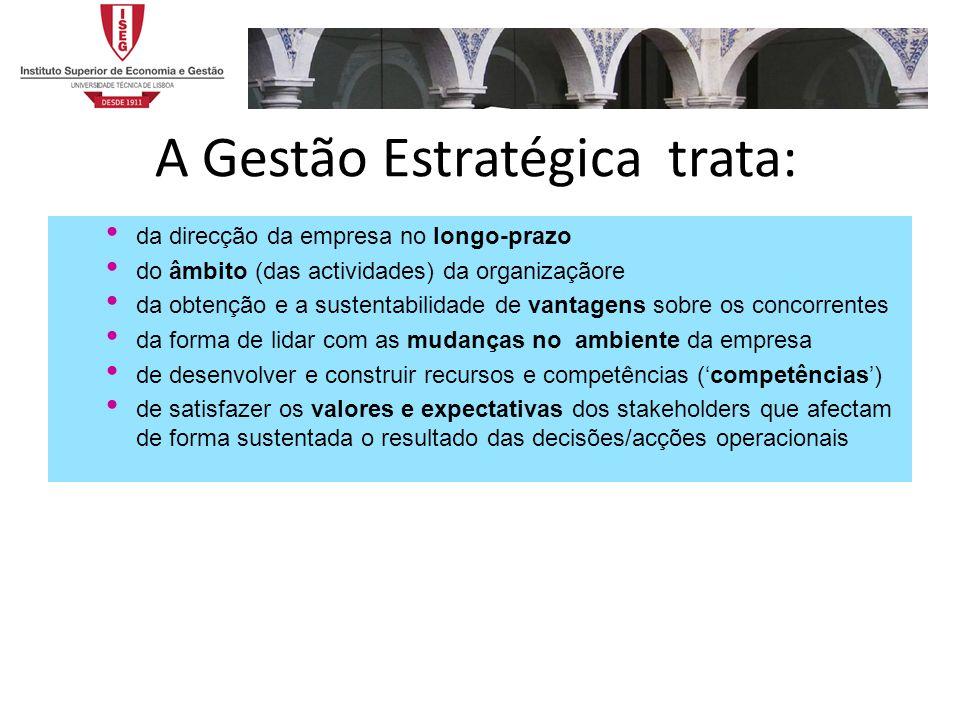 A Gestão Estratégica trata: da direcção da empresa no longo-prazo do âmbito (das actividades) da organizaçãore da obtenção e a sustentabilidade de van