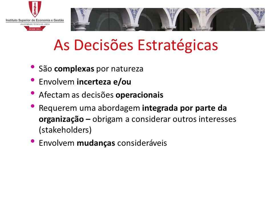 As Decisões Estratégicas São complexas por natureza Envolvem incerteza e/ou Afectam as decisões operacionais Requerem uma abordagem integrada por parte da organização – obrigam a considerar outros interesses (stakeholders) Envolvem mudanças consideráveis