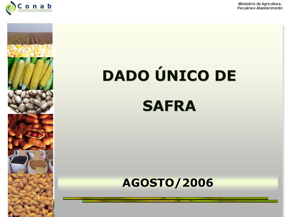 Ministério da Agricultura, Pecuária e Abastecimento AGOSTO/2006 DADO ÚNICO DE SAFRA