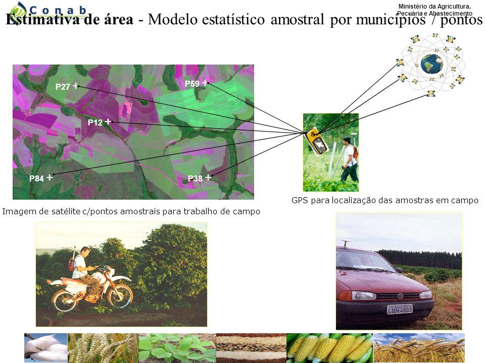 Ministério da Agricultura, Pecuária e Abastecimento Estimativa de área - Modelo estatístico amostral por municípios / pontos P27 + P12 + P84 + P38 + P59 + Imagem de satélitec/pontosamostrais para trabalho de campo GPS para localização das amostras em campo