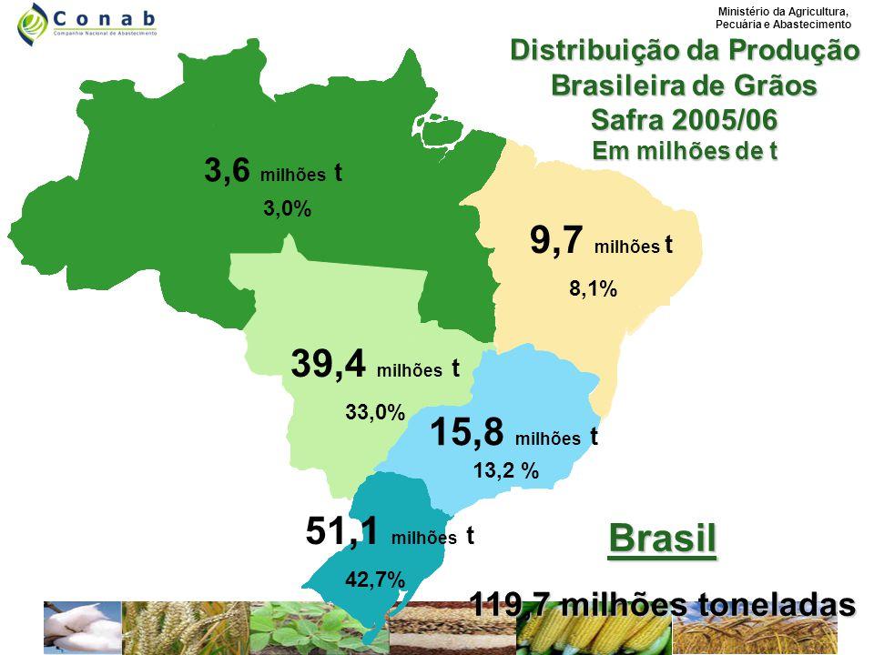 Ministério da Agricultura, Pecuária e Abastecimento Distribuição da Produção Brasileira de Grãos Safra 2005/06 Em milhões de t PR SC RS PA RO TO MA PI CE 3,6 milhões t 3,0% 39,4 milhões t 33,0% 9,7 milhões t 8,1% 15,8 milhões t 13,2 % 51,1 milhões t 42,7% Brasil 119,7 milhões toneladas