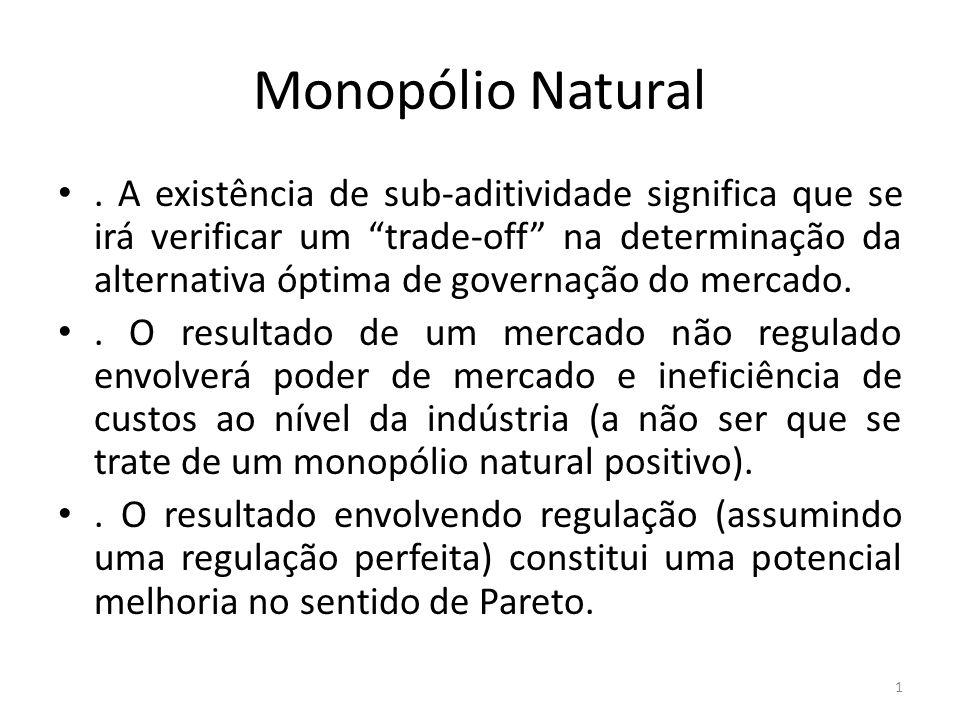 Monopólio Natural. A existência de sub-aditividade significa que se irá verificar um trade-off na determinação da alternativa óptima de governação do