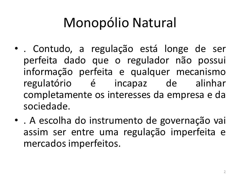 Monopólio Natural. Contudo, a regulação está longe de ser perfeita dado que o regulador não possui informação perfeita e qualquer mecanismo regulatóri