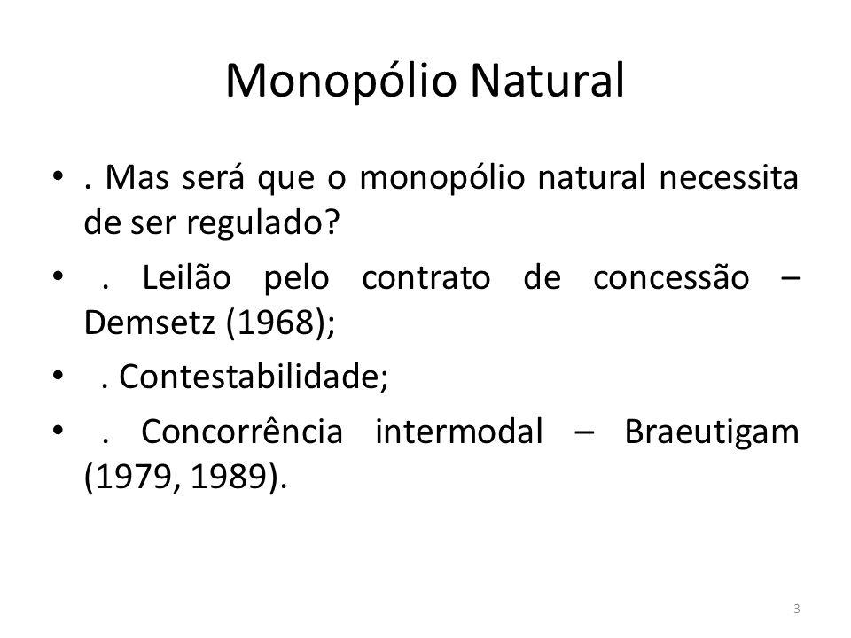 Monopólio Natural. Mas será que o monopólio natural necessita de ser regulado?. Leilão pelo contrato de concessão – Demsetz (1968);. Contestabilidade;