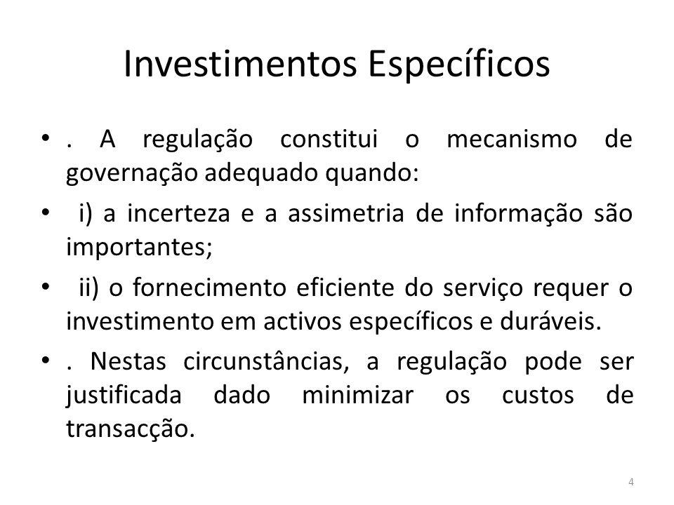 Investimentos Específicos. A regulação constitui o mecanismo de governação adequado quando: i) a incerteza e a assimetria de informação são importante