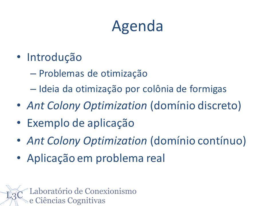 Agenda Introdução – Problemas de otimização – Ideia da otimização por colônia de formigas Ant Colony Optimization (domínio discreto) Exemplo de aplica