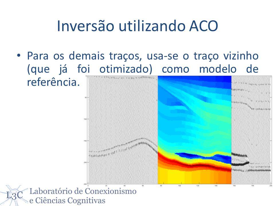 Inversão utilizando ACO Para os demais traços, usa-se o traço vizinho (que já foi otimizado) como modelo de referência.