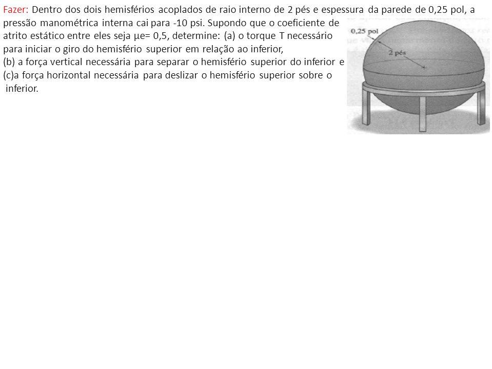 Fazer: Dentro dos dois hemisférios acoplados de raio interno de 2 pés e espessura da parede de 0,25 pol, a pressão manométrica interna cai para -10 ps