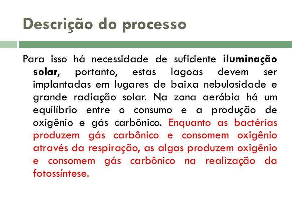 Descrição do processo Para isso há necessidade de suficiente iluminação solar, portanto, estas lagoas devem ser implantadas em lugares de baixa nebulo