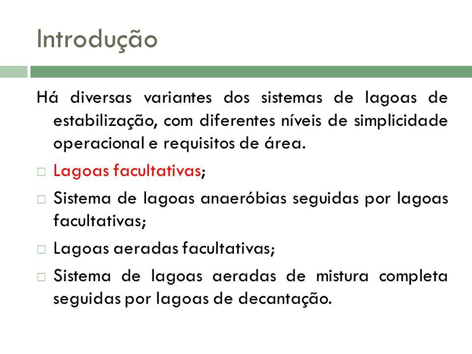 Introdução Há diversas variantes dos sistemas de lagoas de estabilização, com diferentes níveis de simplicidade operacional e requisitos de área. Lago