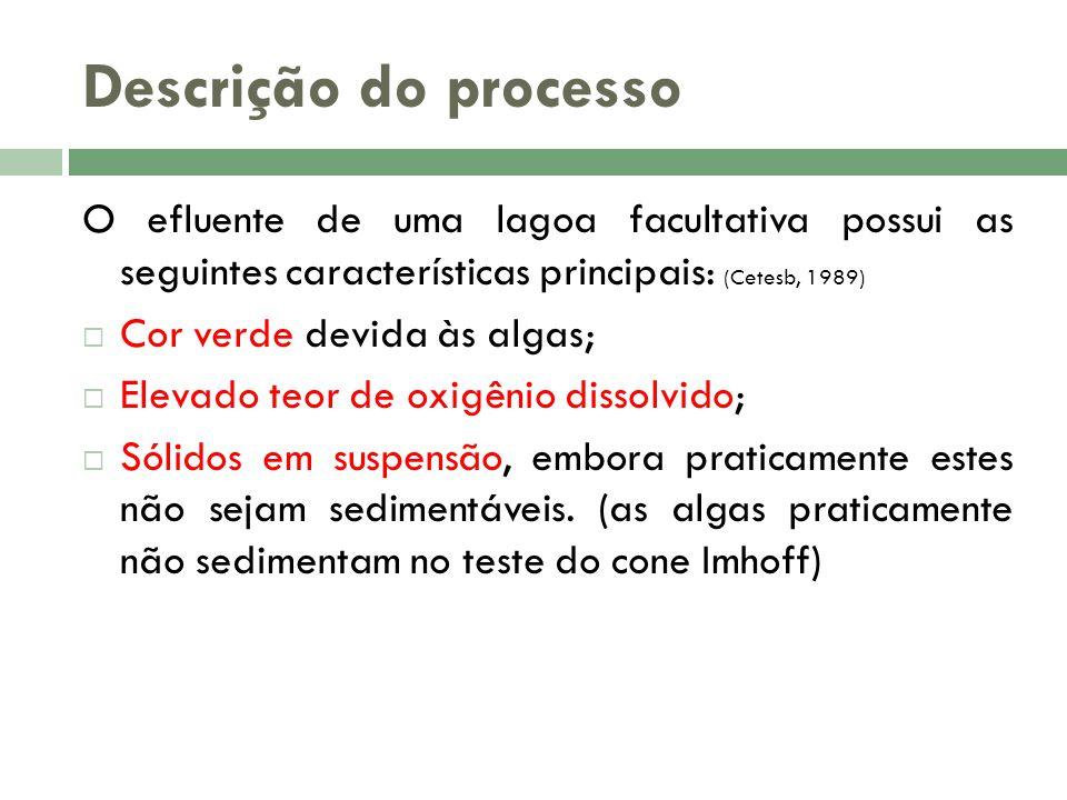O efluente de uma lagoa facultativa possui as seguintes características principais: (Cetesb, 1989) Cor verde devida às algas; Elevado teor de oxigênio