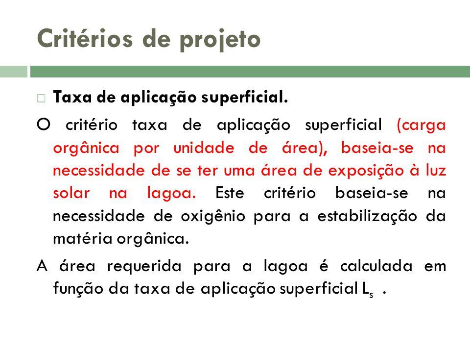 Critérios de projeto Taxa de aplicação superficial. O critério taxa de aplicação superficial (carga orgânica por unidade de área), baseia-se na necess