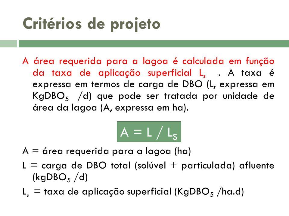 Critérios de projeto A área requerida para a lagoa é calculada em função da taxa de aplicação superficial L s. A taxa é expressa em termos de carga de
