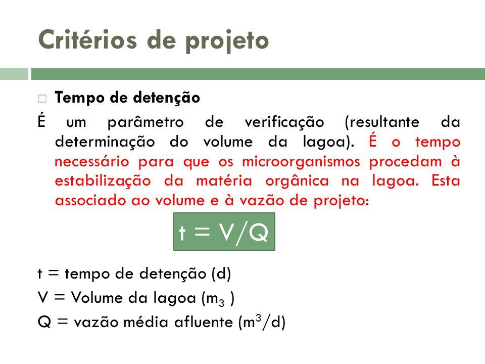 Critérios de projeto Tempo de detenção É um parâmetro de verificação (resultante da determinação do volume da lagoa). É o tempo necessário para que os