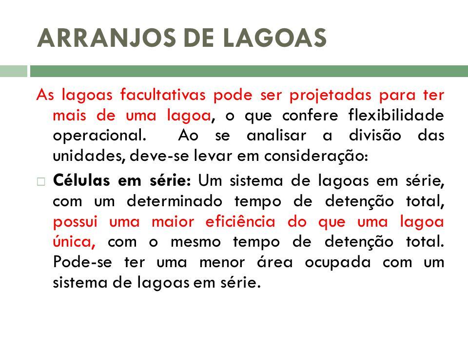 ARRANJOS DE LAGOAS As lagoas facultativas pode ser projetadas para ter mais de uma lagoa, o que confere flexibilidade operacional. Ao se analisar a di