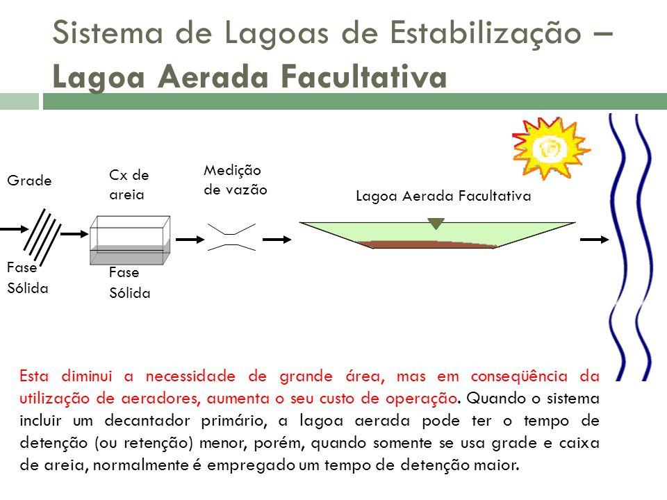 Sistema de Lagoas de Estabilização – Lagoa Aerada Facultativa Na aeração há produção de lodo biológico, que tem de ser removido antes do lançamento dos efluentes no corpo receptor.