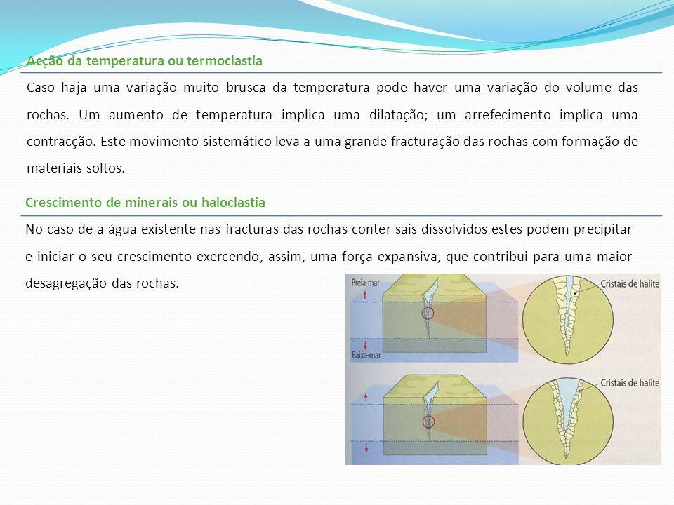 Acção da temperatura ou termoclastia Caso haja uma variação muito brusca da temperatura pode haver uma variação do volume das rochas. Um aumento de te