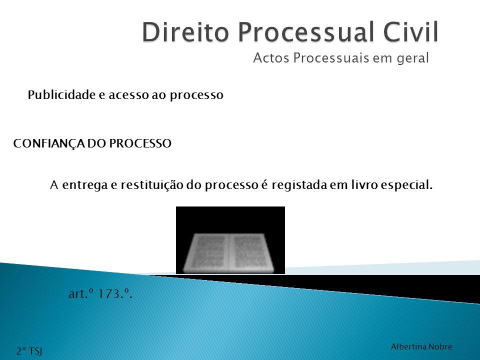 Actos Processuais em geral A entrega e restituição do processo é registada em livro especial. Publicidade e acesso ao processo CONFIANÇA DO PROCESSO a