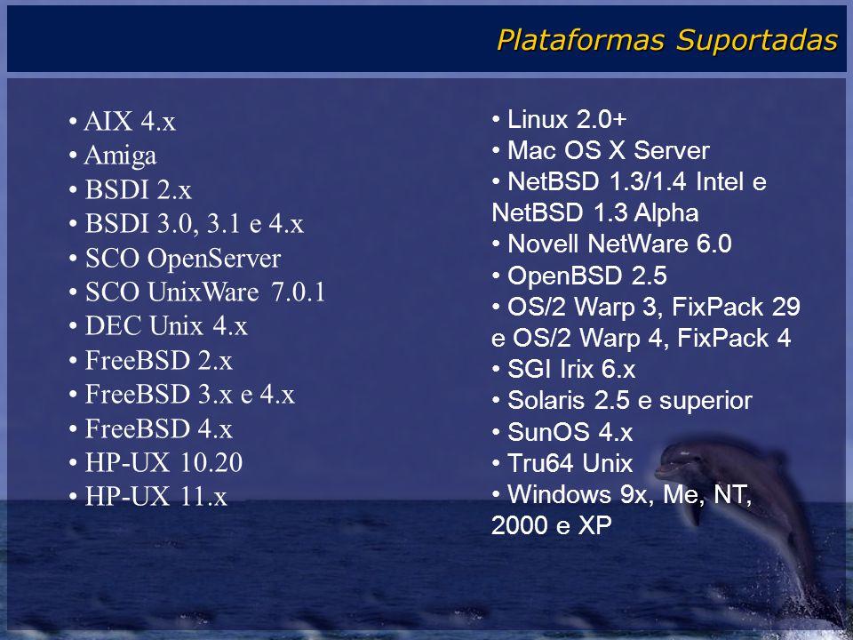 Plataformas Suportadas AIX 4.x Amiga BSDI 2.x BSDI 3.0, 3.1 e 4.x SCO OpenServer SCO UnixWare 7.0.1 DEC Unix 4.x FreeBSD 2.x FreeBSD 3.x e 4.x FreeBSD