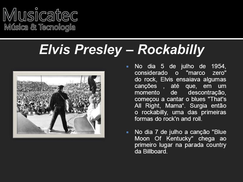 Em 1 de abril de 1956 Elvis grava uma performance em cores da canção Blue Suede Shoes .