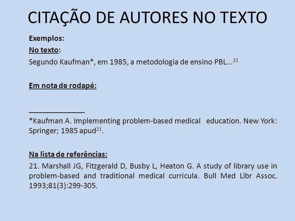 CITAÇÃO DE AUTORES NO TEXTO Exemplos: No texto: Segundo Kaufman*, em 1985, a metodologia de ensino PBL... 21 Em nota de rodapé: ______________ *Kaufma