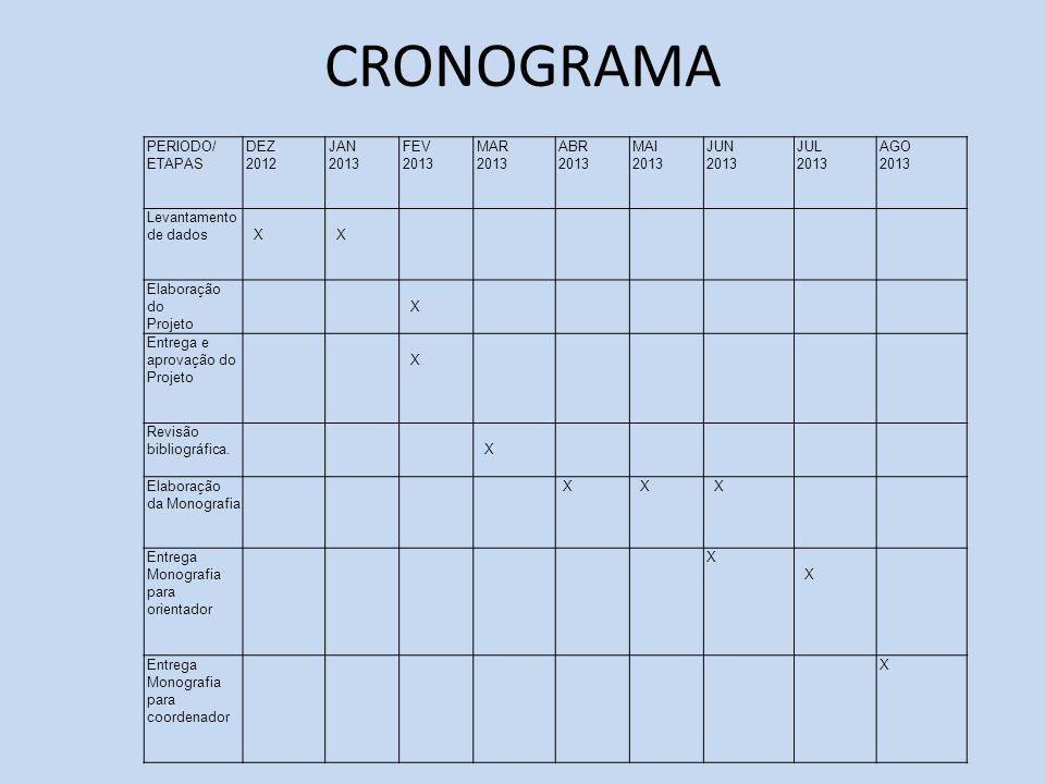 CRONOGRAMA PERIODO/ ETAPAS DEZ 2012 JAN 2013 FEV 2013 MAR 2013 ABR 2013 MAI 2013 JUN 2013 JUL 2013 AGO 2013 Levantamento de dados X X Elaboração do Pr