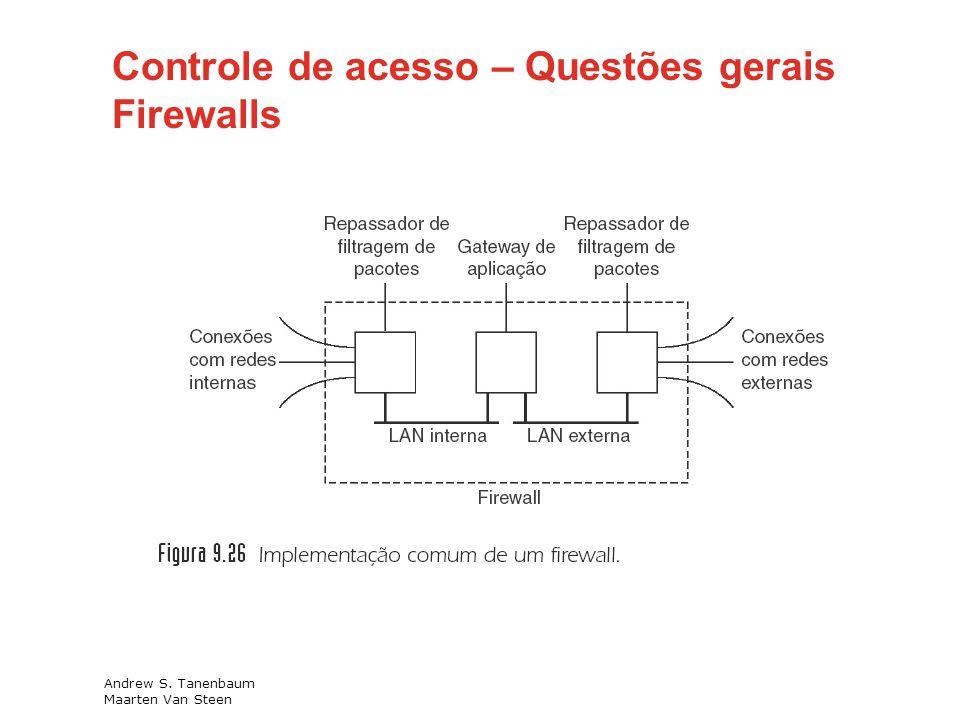 Andrew S. Tanenbaum Maarten Van Steen Controle de acesso – Questões gerais Firewalls