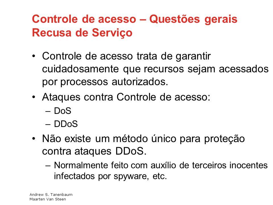 Controle de acesso – Questões gerais Recusa de Serviço Controle de acesso trata de garantir cuidadosamente que recursos sejam acessados por processos autorizados.