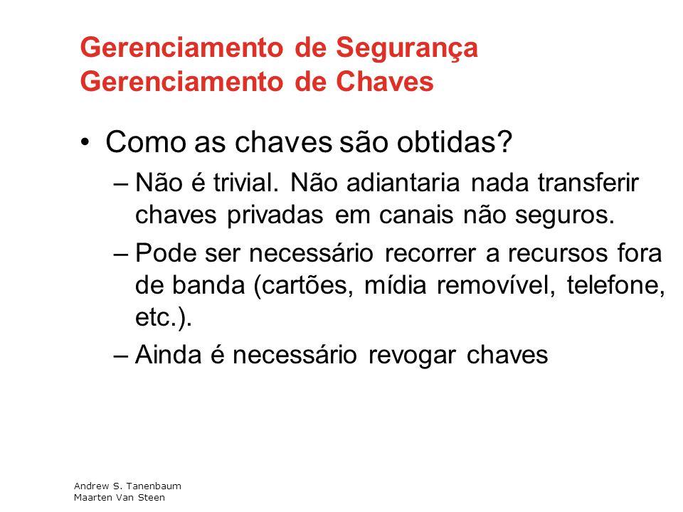 Gerenciamento de Segurança Gerenciamento de Chaves Como as chaves são obtidas.