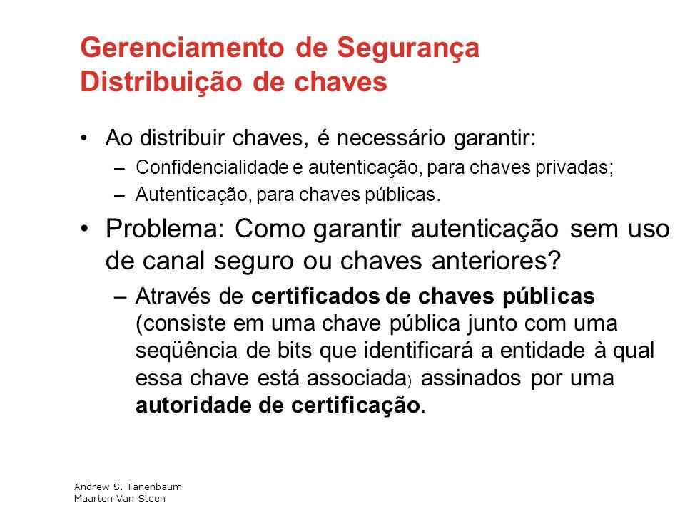 Gerenciamento de Segurança Distribuição de chaves Ao distribuir chaves, é necessário garantir: –Confidencialidade e autenticação, para chaves privadas; –Autenticação, para chaves públicas.
