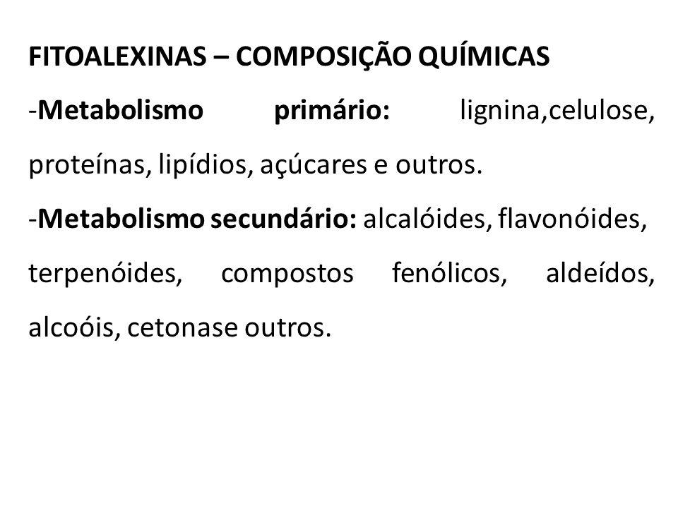 FITOALEXINAS – COMPOSIÇÃO QUÍMICAS -Metabolismo primário: lignina,celulose, proteínas, lipídios, açúcares e outros. -Metabolismo secundário: alcalóide