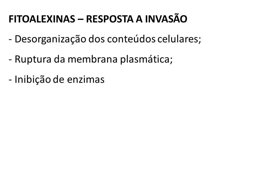 FITOALEXINAS – RESPOSTA A INVASÃO - Desorganização dos conteúdos celulares; - Ruptura da membrana plasmática; - Inibição de enzimas