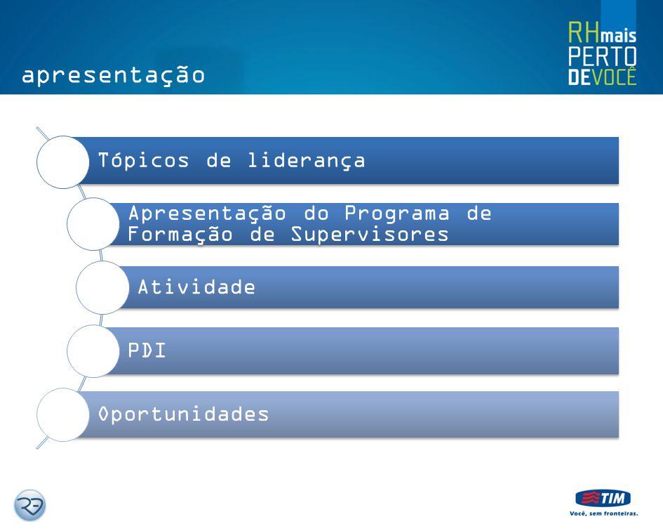 apresentação Tópicos de liderança Apresentação do Programa de Formação de Supervisores Atividade PDI Oportunidades
