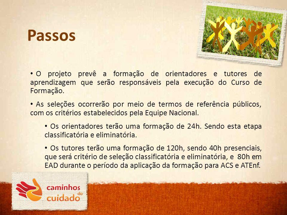Passos O projeto prevê a formação de orientadores e tutores de aprendizagem que serão responsáveis pela execução do Curso de Formação. As seleções oco