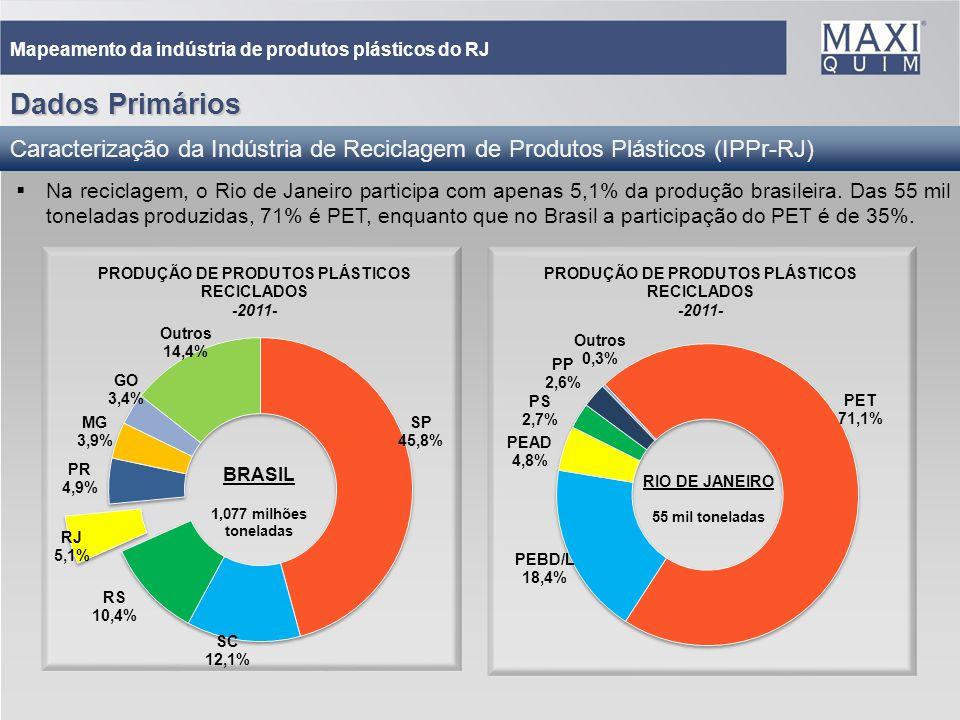 18 Mapeamento da indústria de produtos plásticos do RJ Dados Primários Caracterização da Indústria de Reciclagem de Produtos Plásticos (IPPr-RJ) Na re