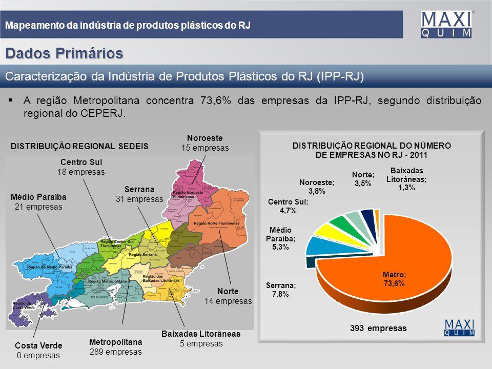 19 Mapeamento da indústria de produtos plásticos do RJ A região Metropolitana concentra 73,6% das empresas da IPP-RJ, segundo distribuição regional do