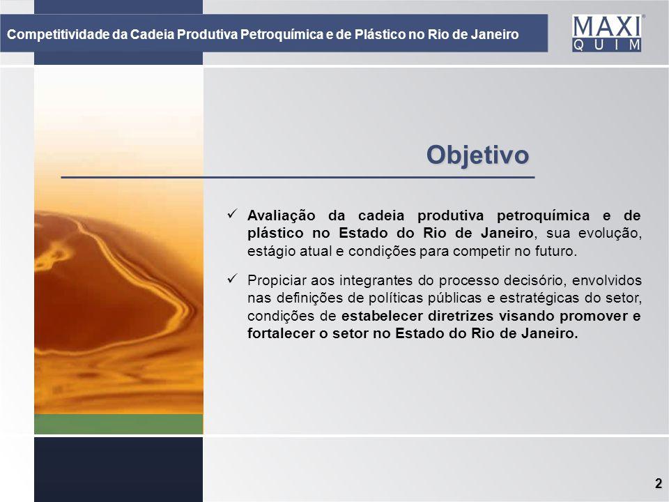 2 Objetivo Avaliação da cadeia produtiva petroquímica e de plástico no Estado do Rio de Janeiro, sua evolução, estágio atual e condições para competir