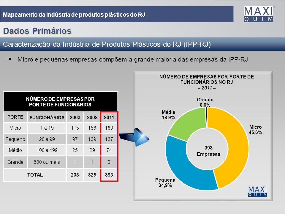 20 Mapeamento da indústria de produtos plásticos do RJ Micro e pequenas empresas compõem a grande maioria das empresas da IPP-RJ. NÚMERO DE EMPRESAS P