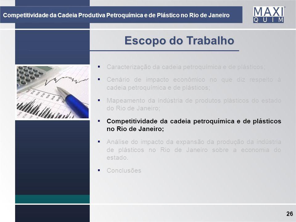 26 Escopo do Trabalho Caracterização da cadeia petroquímica e de plásticos; Cenário de impacto econômico no que diz respeito à cadeia petroquímica e d