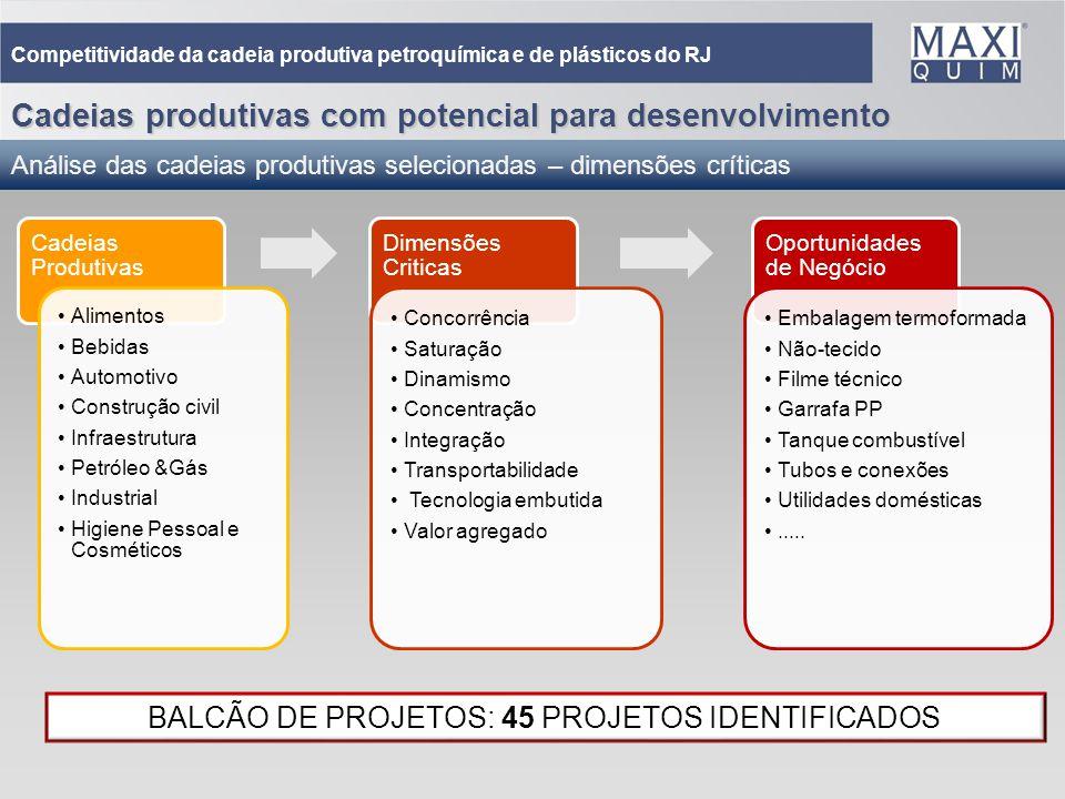 31 Cadeias produtivas com potencial para desenvolvimento Análise das cadeias produtivas selecionadas – dimensões críticas Competitividade da cadeia pr