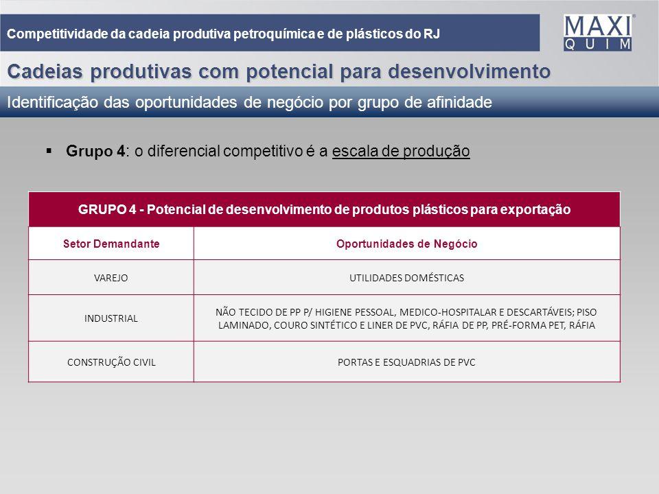 37 Cadeias produtivas com potencial para desenvolvimento Identificação das oportunidades de negócio por grupo de afinidade Competitividade da cadeia p
