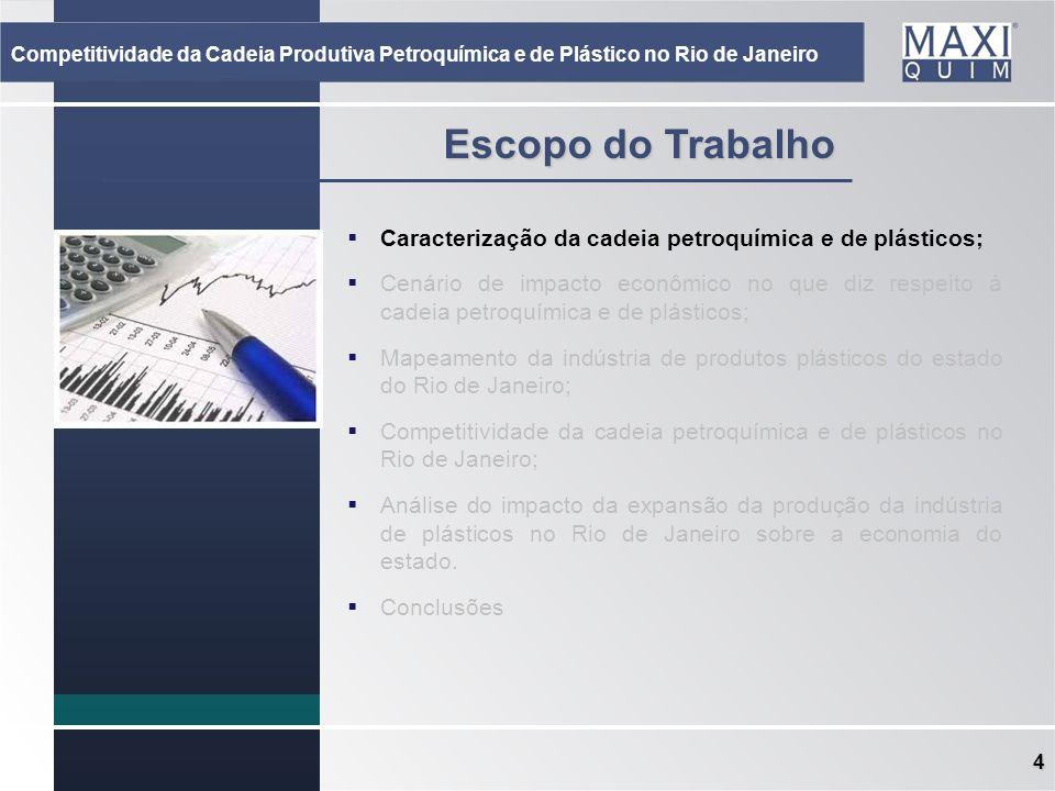4 Escopo do Trabalho Caracterização da cadeia petroquímica e de plásticos; Cenário de impacto econômico no que diz respeito à cadeia petroquímica e de