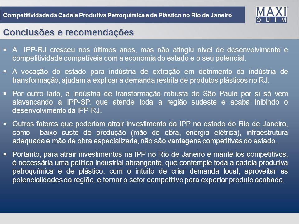 41 Conclusões e recomendações Competitividade da Cadeia Produtiva Petroquímica e de Plástico no Rio de Janeiro A IPP-RJ cresceu nos últimos anos, mas