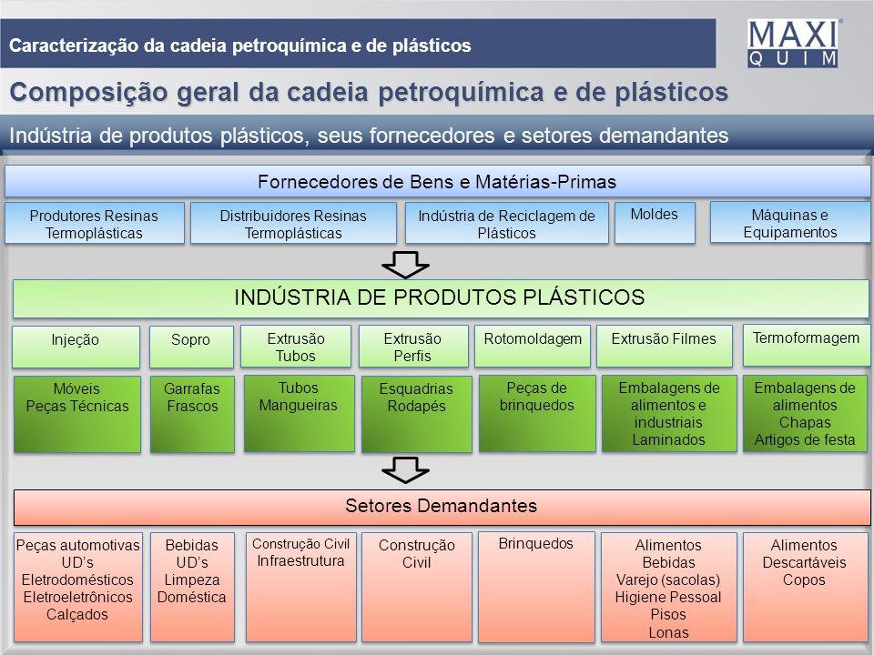 5 Caracterização da cadeia petroquímica e de plásticos Composição geral da cadeia petroquímica e de plásticos Indústria de produtos plásticos, seus fo