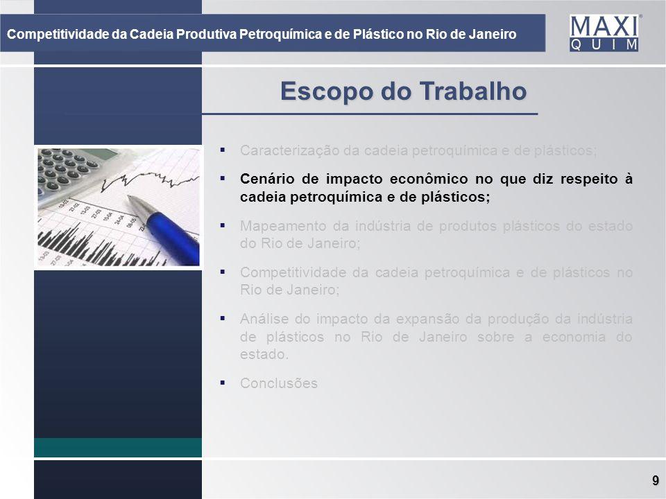 9 Escopo do Trabalho Caracterização da cadeia petroquímica e de plásticos; Cenário de impacto econômico no que diz respeito à cadeia petroquímica e de