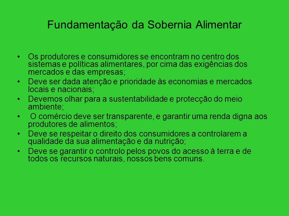 Fundamentação da Sobernia Alimentar Os produtores e consumidores se encontram no centro dos sistemas e políticas alimentares, por cima das exigências