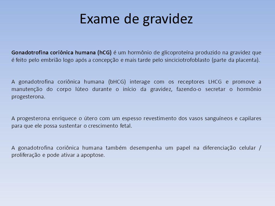 Exame de gravidez Gonadotrofina coriônica humana (hCG) é um hormônio de glicoproteína produzido na gravidez que é feito pelo embrião logo após a conce