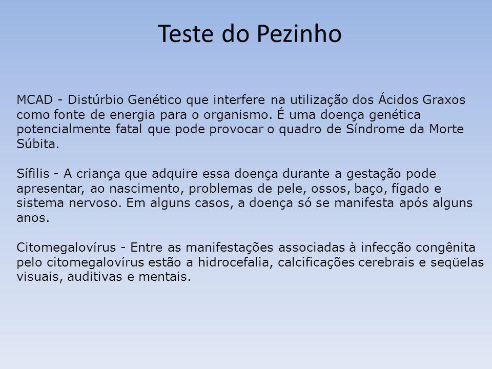 Teste do Pezinho MCAD - Distúrbio Genético que interfere na utilização dos Ácidos Graxos como fonte de energia para o organismo. É uma doença genética