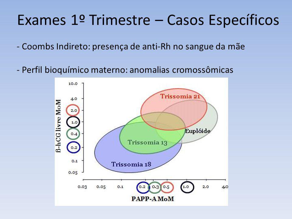 Exames 1º Trimestre – Casos Específicos - Coombs Indireto: presença de anti-Rh no sangue da mãe - Perfil bioquímico materno: anomalias cromossômicas