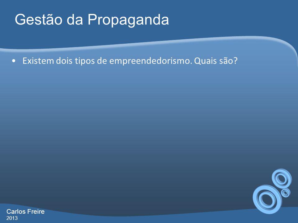 Gestão da Propaganda Carlos Freire 2013 Existem dois tipos de empreendedorismo.